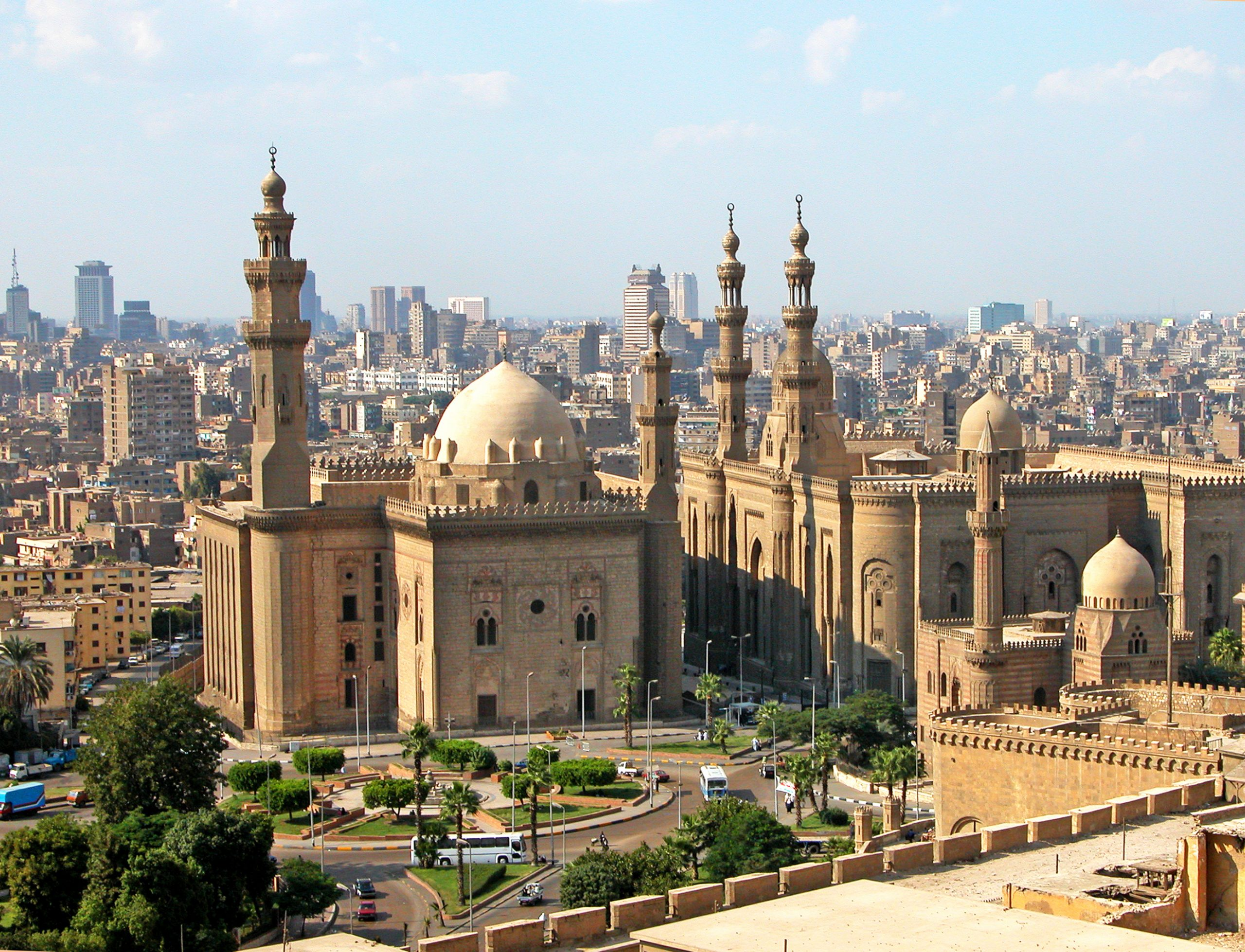 View of the Mosques of Sultan Hassan and Al-Rifai in Cairo